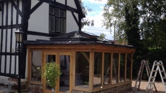 New orangery extension on listed cottage